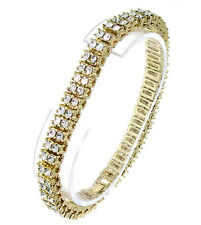 MENS 14K GOLD PLATED 2 ROW ICED OUT HIP HOP BLING CZ BRACELET *NEW*