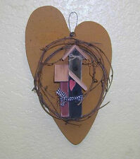 """Handmade Wood Primitive Heart Accented With Birdhouses 12"""""""