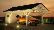 Satteldach Carport 4.00 x 7.50 mit Geräteraum 33% Onlinerabatt Carports ab Werk