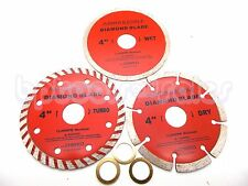 "3-pc 4"" Diamond Blades DRY/WET/TURBO Saw Blade Wheels Tile Concrete 13,400RPM"