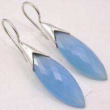 """925 Sterling Silver Fiery CUT CHALCEDONY WOMEN'S BIG Dangle Earrings 1.7"""" NEW"""