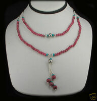 Sterling Silver Rhodonite Turquoise Beaded Necklace