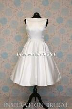 1619 UK short knee tea calf length wedding dress satin pearls details any size
