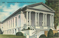 Postcard Buncombe Street Methodist Church, Greenville, SC