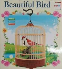Beautiful Heartful Bird Toy in Cage Electronic Sound Lighting Acoustic Control