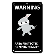 Warning Area Protected By Ninja Bunnies Novelty Funny Metal Sign 8 in x 12 in