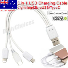Multi Charger Cable 3in1 USB For HTC Apple iPhone 4 5 6 Samsung Galaxy Nokia LG