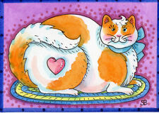 Original Aceo by Artist Susan Brack Sweet Tabby on Oval Braided Rug Bow Heart