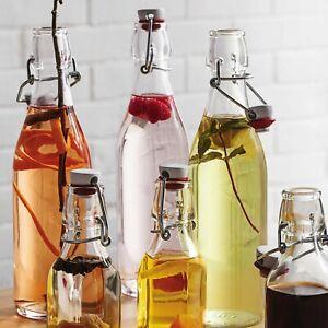 Bormioli Rocco Giara 1 Litre Clear Glass Swing Flip Top Lid Water Bottles Set