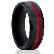 🔥 Mens Rings Red Stripe Line Tungsten Rings for Men Black Mens Wedding Bands