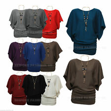 Women's 3/4 Sleeve Knitted Batwing Jumper / Top Free Necklace One Size 8-16