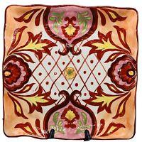 "Maxcera Corp RED TALAVERA Square Dinner Plates BOHO Disc Pattern 11.5""W Set Of 4"