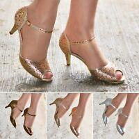 Ladies Diamante Low Heel Party Shoes Ankle strap Peep toe Dress Sandals size