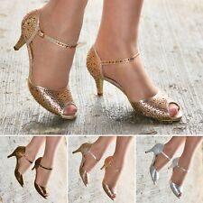 Ladies Diamante Low Heel Party Shoes Ankle strap Peep toe Dress Sandals size