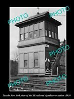 OLD LARGE HISTORIC PHOTO OF TUXEDO NEW YORK, THE RAILROAD XK SIGNAL TOWER c1930