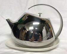 Georg Jensen Denmark Helena Modern Stainless Steel & Porcelain Teapot w Coaster