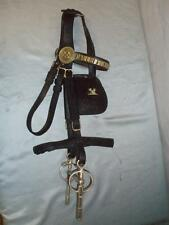 Antique Black English Leather Stage Coach Driving Harness Bridle.(FAMILY CRESTS
