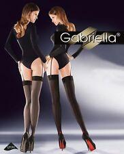 Bas Nylon Couture Porte-jarretelle Femme -lingerie Gabriella Cruze 20 den Noir/rouge 3/4 (m/l)