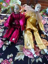 lotti 2pierrots anni 60-70 porcellana ,e abbigliamento lame=45cm vintage