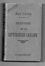 Histoire de la Littérature Grecque - Max Egger