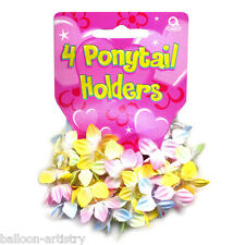 4 Tropical Summer Flowers Children's Party Gifts Loot Favours Ponytail Holders