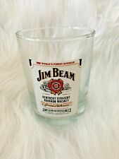 Collectible JIM BEAM White Label Whiskey Rocks Glass Heavy Bar Ware