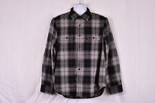 Men's Wallin & Bros Plaid Button Up Wool Blend Over Shirt Jacket, Black & Grey
