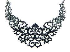 New BLACK FILIGREE NECKLACE Lace Damask Scroll Vines Victorian Gothic Bib Choker