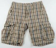 Levis Mens Cotton Beige Plaid Casual Cargo Khaki Shorts Tag 30 Measured 32
