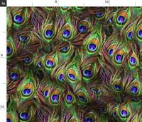 Peacock Feathers Wave Feather Colorful Spoonflower Fabric by the Yard