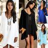 Summer Womens Plus Size Chiffon T-Shirt Blouse Beach Party Dress Boho Mini Tops