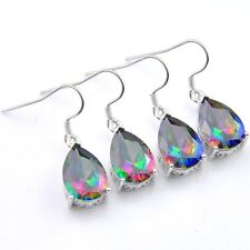 Classical Water Drop 2 Pcs 1 Lot Natural Rainbow Fire Topaz Silver Hook Earrings