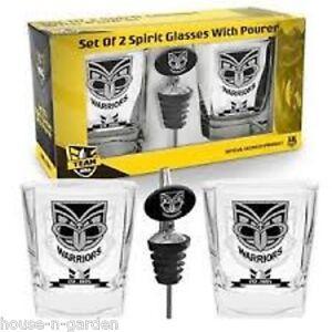 NRL New Zealand WARRIORS Set 2 Spirit Drink Alcohol Glass Glasses & Pourer