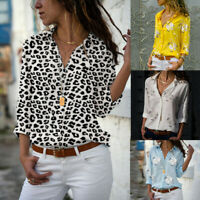 Womens Long Sleeve V-neck Loose Tops T Shirt OL Floral Casual Button Down Blouse