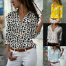 Women Long Sleeve V-neck Loose T-shirt Tops Floral Casual Button Down Tee Blouse