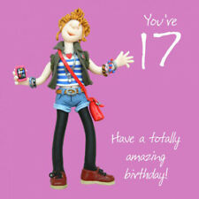 17th Birthday Card For A Girl - 6 x 6 Inches - One Lump Or Two