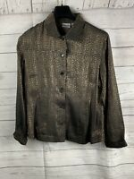 CHICOS Brown/Black Snake Skin Look Button Up Jacket Coat - Size 1 small/medium