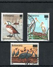 1987 Botswana  birds surcharged (overprinted) set of 3 Used