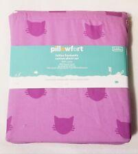 Pillowfort Toddler Bed Cats Violet Cotton Sheet Set Feline Fantastic