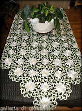 """IVORY PEDALS & SAGE Lace Doily  43"""" SQ Table Topper Doily Daisy"""