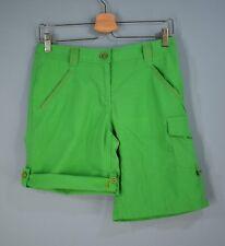 LANDS' END Women's Cargo Shorts Roll Leg Cotton Nylon 4P Bright Green 4 Petite