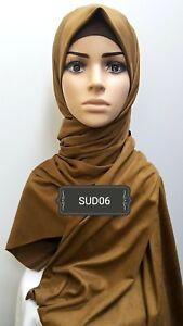 Hijab head scarf maxi jersey lycra crimp cotton pashmina viscose suede SUD06
