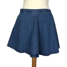 Topshop Petite Blue Flared Aline Skater Fit Flare Denim Autumn Skirt Size 8
