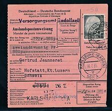 88906) Auslands - Postanweisung EF 50PF Heuss Karlsruhe - Hofstatt Schweiz
