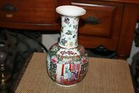 Chinese Rose Medallion Famille Rose Porcelain Vase Signed Colorful Scenes Men