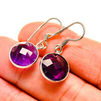 """Amethyst 925 Sterling Silver Earrings 1 1/8"""" Ana Co Jewelry E412466F"""