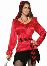 Forum Women's Red Ruffled Pirate Blouse Shirt Costume Accessory