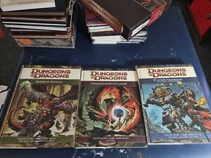 Dungeons & Dragons Rule Books 3rd, 3.5, 4th editions.