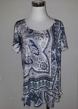 Style & Co Womens' New Embellished Print Top Blue Pink size L