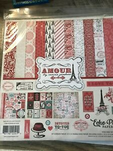 AMOUR Collection 12X12 Scrapbooking Kit Echo Park- Valentine- New- Love-Paris